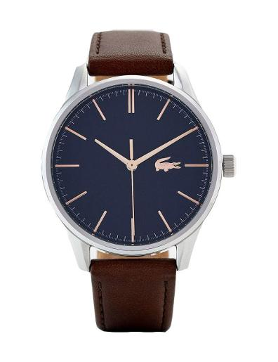 Lacoste Men's Deauville Blue Dial Brown Leather Watch. 2011046