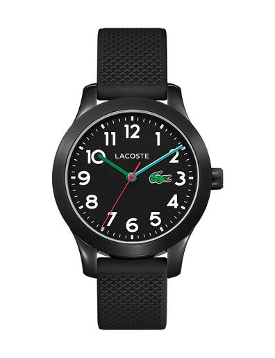 Lacoste Unisex's L12K Black Dial Black Rubber Watch 2030032