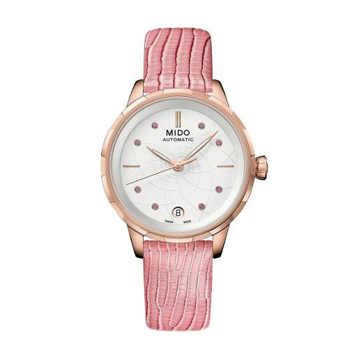 Mido  Mido Women Automatic Pink Leather Round Stainless steel White Dial  M043.207.36.011.00
