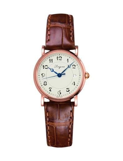 Longines Women's HERITAGE Beige Dial Brown Leather Watch. L42678732