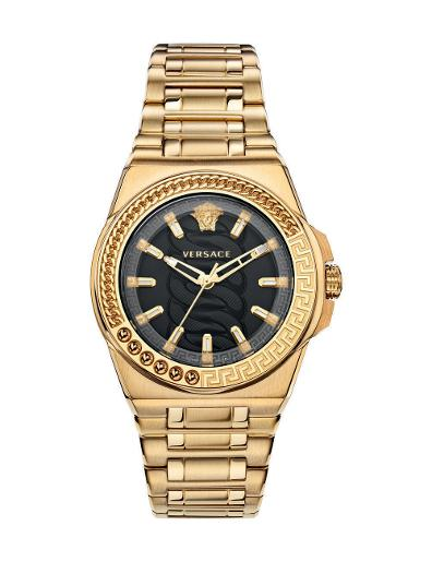 Versace Women's CHAIN REACTION Black Dial Gold stainless steel Watch. VEHD00520