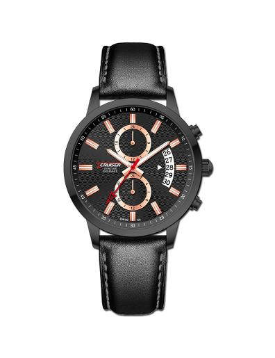 Cruiser Men's Leather Multifunction Black Dial Watch. C7348-GZBBB