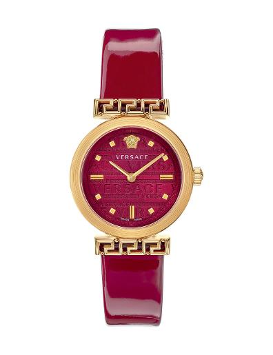VERSACE Women's Meander Red Dial Red Leather Watch VELW00320