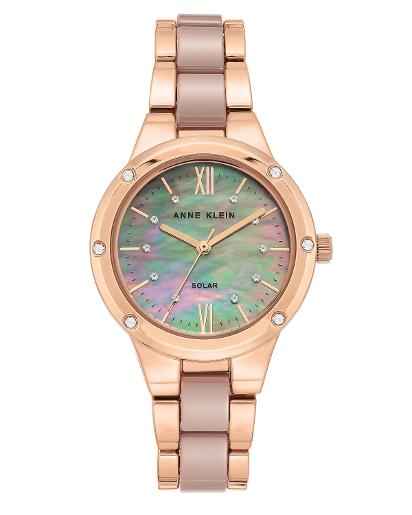 Anne Klein Women's Ceramic Taupe mother of pearl Dial Nickel compliant rose gold with taupe Ceramic Watch. AK3758TPRG
