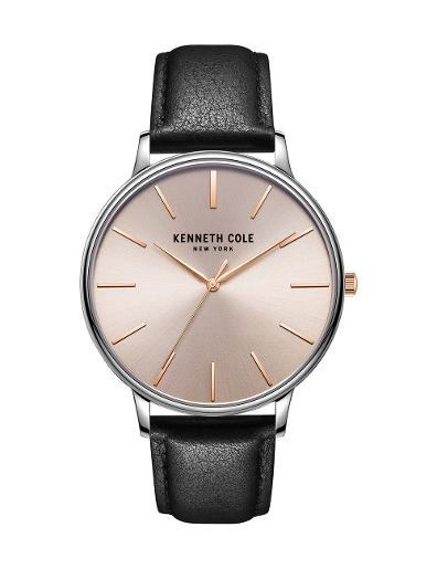 Kenneth Cole Men's Classic Rose Gold Dial with Black Leather Watch KC51111001