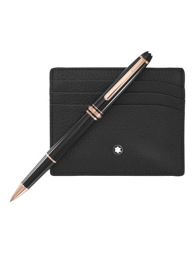 Montblanc Set with Meisterstuck Red Gold Classique Rollerball and black soft-grain Pocket Holder 6 CC 114121