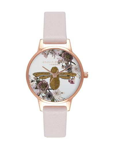 Olivia Burton Women's Embroidered White Dial Pink Leather Watch. OB16EM06