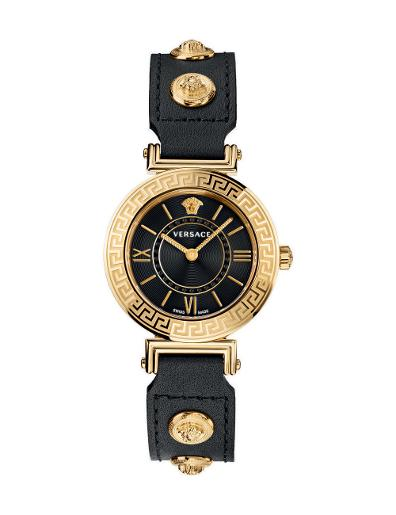 Versace Women's TRIBUTE Black Dial Black leather Watch. VEVG00420