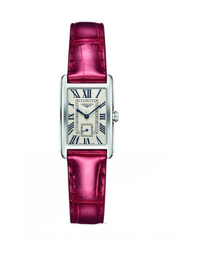 Longines Women's DOLCEVITA White Dial Red Leather Watch. L52554715