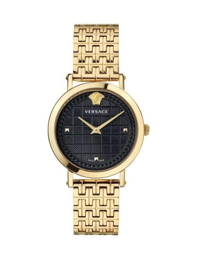 Versace Women's MEDUSA CHAIN Black Dial Gold stainless steel Watch. VELV00620