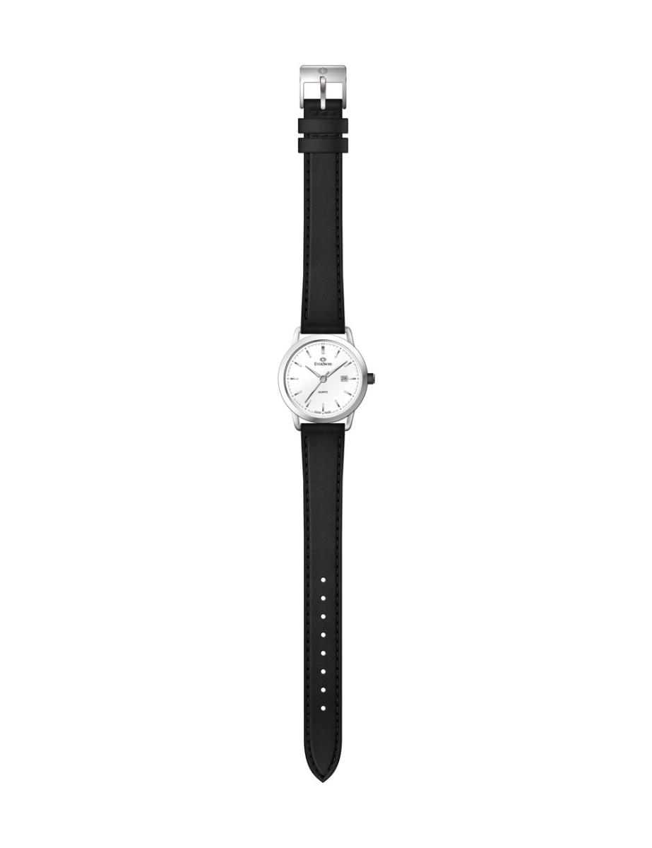 Everswiss  Women's Leather Pair White Dial Black Leather Watch.  1698-LZW