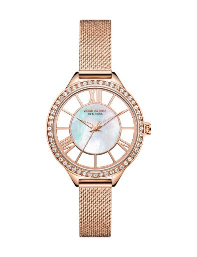 Kenneth cole Women's Transparency Silver Dial Rose Gold Stainless Steel Watch. KC51012002