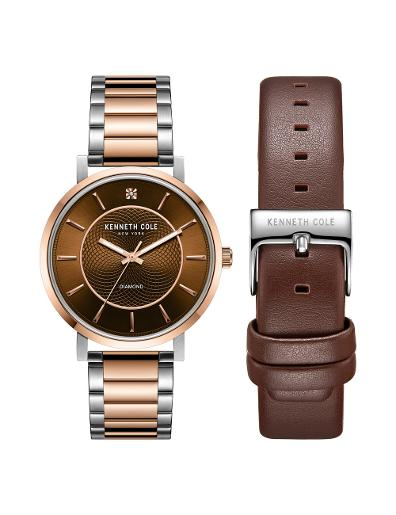 Kenneth cole Men's Gift Set Brown Dial Two Tone Stainless Steel Watch. KC51027002