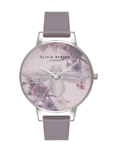 Olivia Burton Women's Embroidered Dial London Grey & Silver OB16EM05
