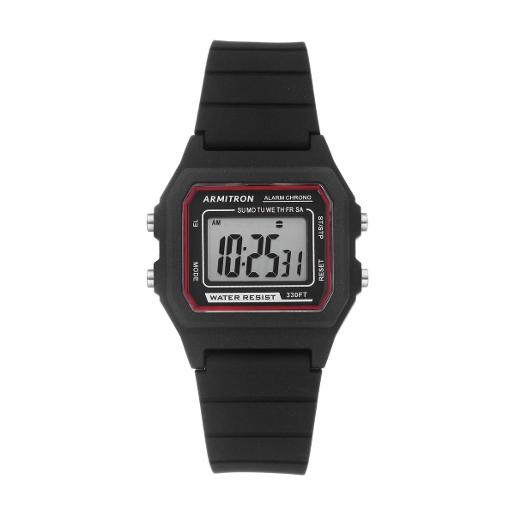 ARMITRON Men's DIGITAL Digital Dial Black Silicon Watch. 408447BLK