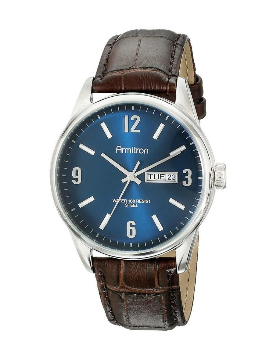 Armitron  Men's Casual Blue Dial Brown Leather Watch.  205048NVSVBN