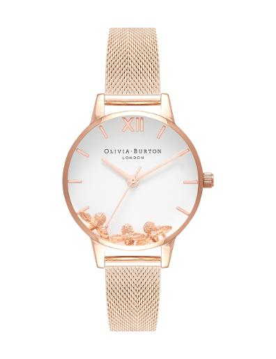 Olivia Burton Women's Busy Bees Rose Gold Mesh OB16CH01