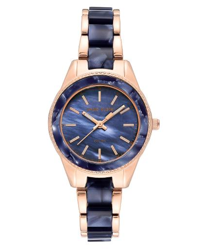 Anne Klein Women's CONSIDERED Navy mother of pearl Dial Nickel compliant rose gold with navy marble petroleum free plastic Plastic Watch. AK3770NVRG