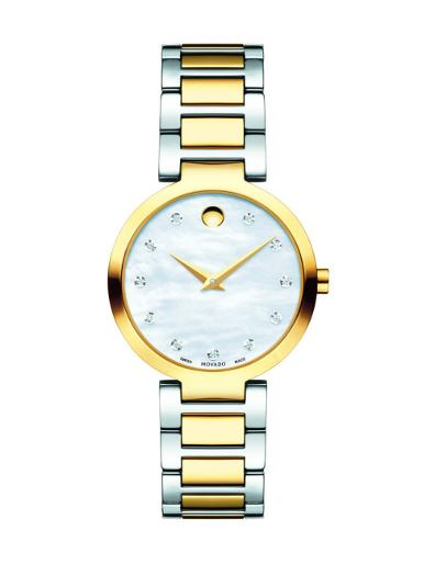 Movado Women's Modern Classic White Mother of Pearl Dial 2 Tone Bracelet Watch. 607103