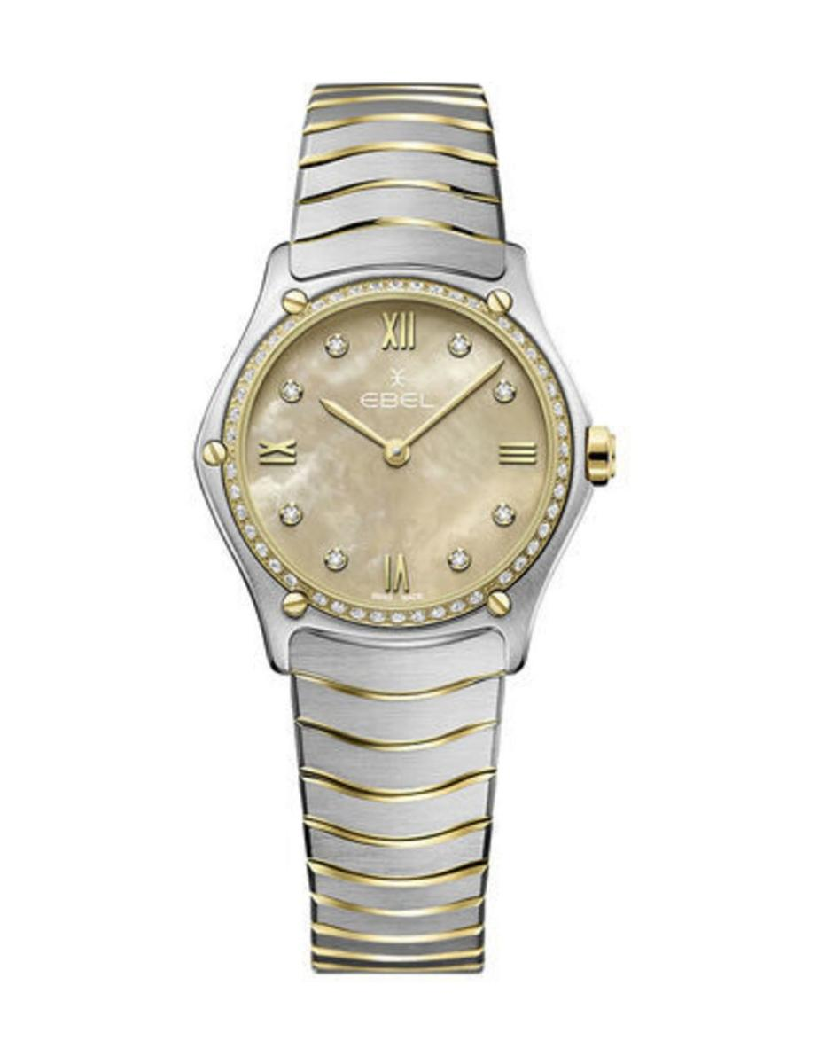 Ebel  Women's Sport Classic Beige Mother of Pearl Dial Two Tone Stainless Steel Watch.  1216489A