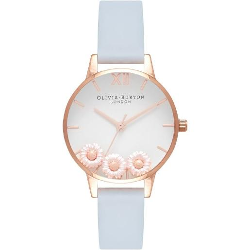 Olivia Burton Women's DANCING DAISY WHITE & FLORAL Dial CHALK BLUE LEATHER Watch. OB16CH04