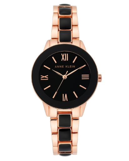 Anne Klein Women's Trend Black Dial rose gold with black enamel Metal Watch. AK3330BKRG