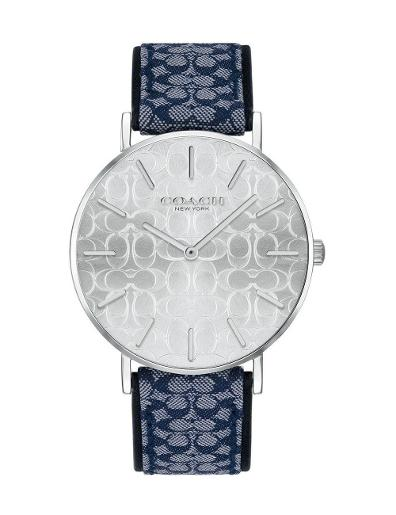 Coach Women's Perry Silver Dial Blue Leather Watch. 14503389