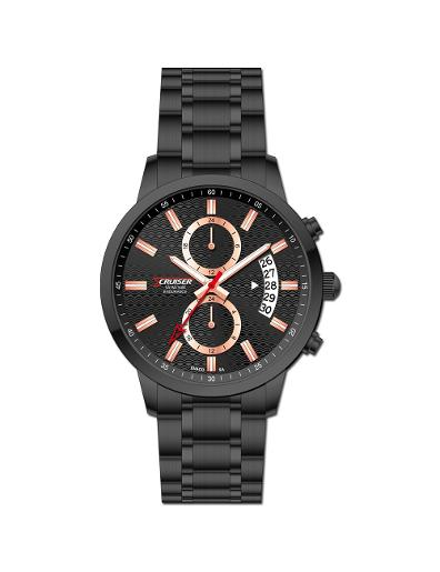 Cruiser Men's Metal Multifunction Black Dial Watch. C7348-GBBB