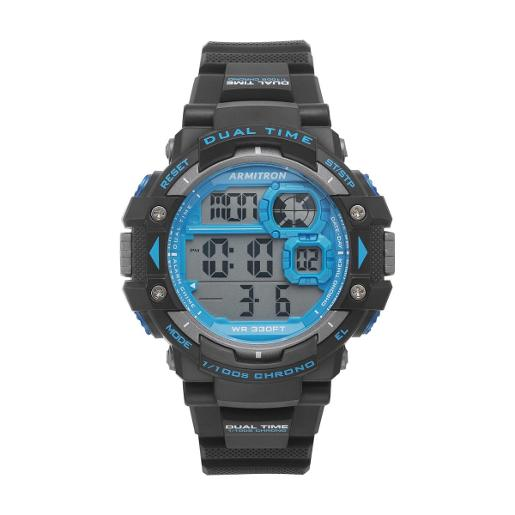 ARMITRON Men's DIGITAL Digital Dial Black Silicon Watch. 408309BLU