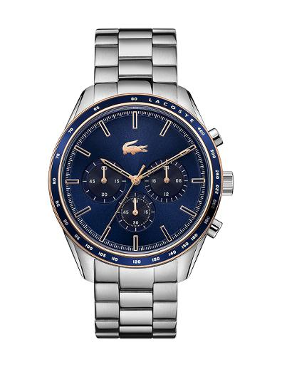 Lacoste Men's Boston Blue Dial Silver Stainless Steel Watch 2011081-LC