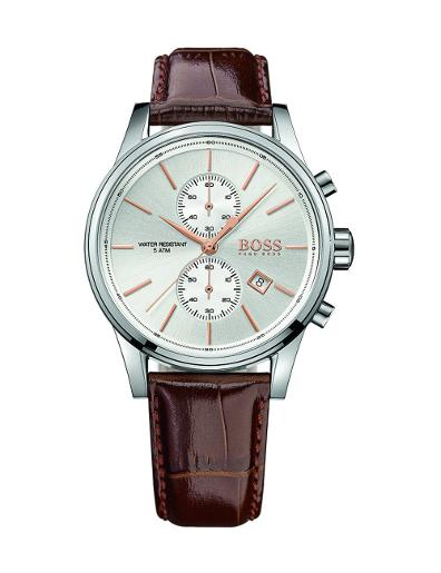 Hugo Boss Men's JET White Dial Brown Leather Watch. 1513280