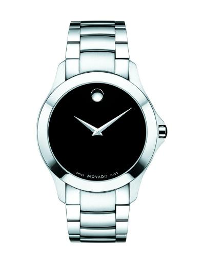 Movado Men's Masino Black Dial Silver Bracelet Watch. 607032