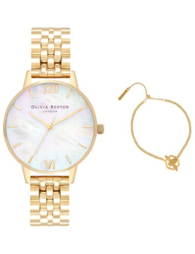 Olivia burton Women's Gift Set Mother of Pearl Dial Gold Stainless Steel Watch. OB Set 9