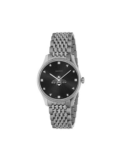 Gucci  Mens's G-TIMELESS Black Dial Silver Stainless Steel Watch.  YA1264154