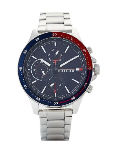 Tommy Hilfiger Men's Sunray Blue Dial Silver Stainless Steel Watch. 1791718