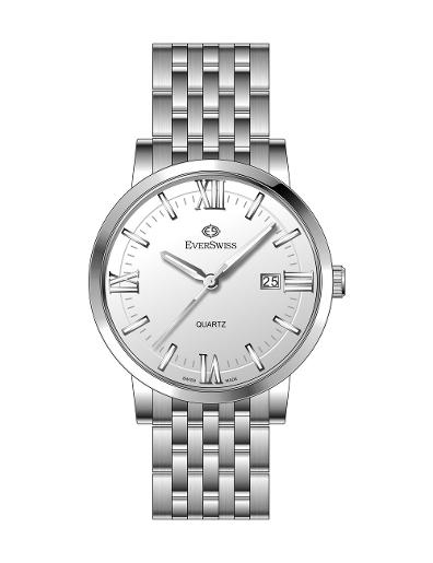 Everswiss Men's Metal Folded Band Gents White Dial Stainless Steel Stainless Steel Watch. 9747-GSW