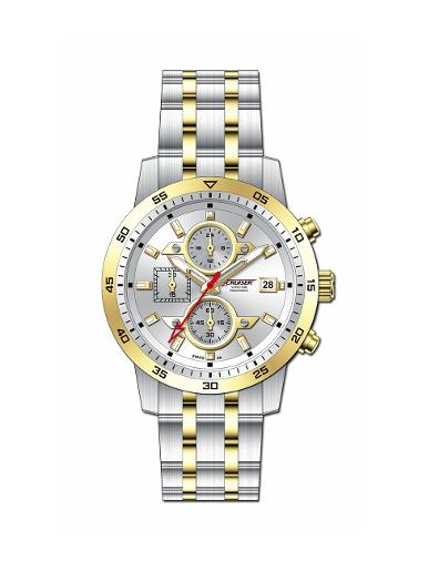 Cruiser Men's Metal Chronograph Silver Dial Watch. C7347-GTGSC