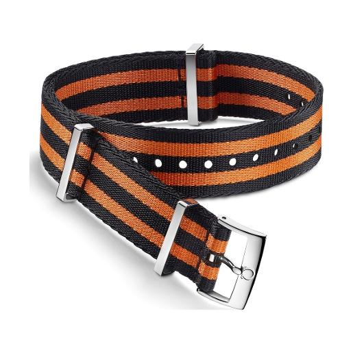 OMEGA Polyamide 5-stripe black & orange strap. Size: 19-20 MM 031ZSZ002047