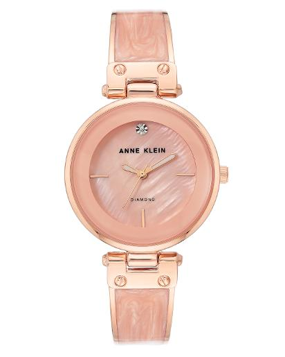 Anne Klein Women's Trend Light Pink mother of pearl Dial Nickel compliant rose gold with light pink marble enamel Metal Watch. AK2512LPRG
