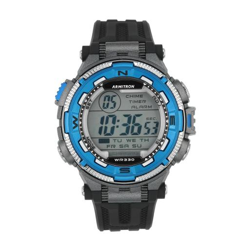 ARMITRON Men's Chrono Pro Digital Dial Black Silicon Watch. 408301BLU