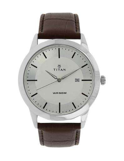 Titan Silver White Dial Analog with Date T1584SL03