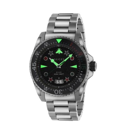 Mens's DIVE Black Dial Silver Stainless Steel Watch.  YA136221