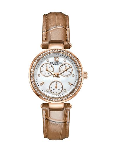Kenneth cole Women's Classic White Dial Brown Leather Watch. KC51065003