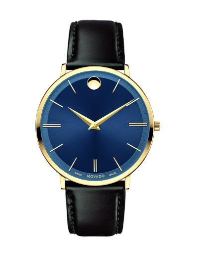 Movado Men's Ultra Slim Blue Dial Brown Strap Watch. 607088