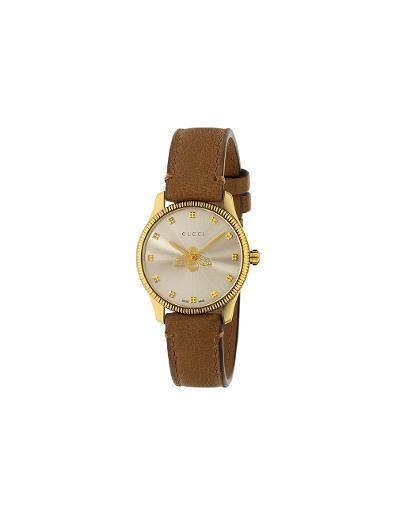 Gucci  Women's G-TIMELESS Silver Dial Brown Leather Watch.  YA1265022