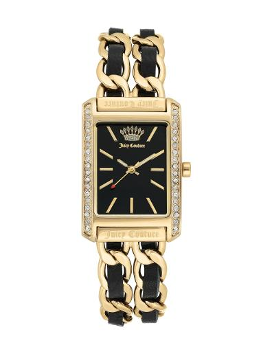 Juicy Couture Women's Leather Black Dial Gold Leather Watch. JC1196BKGB