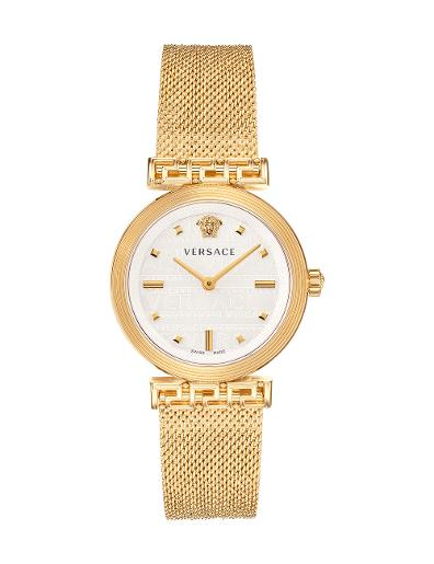 VERSACE Women's Meander White Dial Gold Mesh Watch VELW00820
