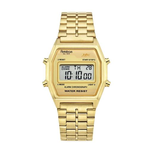 ARMITRON Men's The Rubik Digital Dial Gold Stainless Steel Watch. 408474CHGP