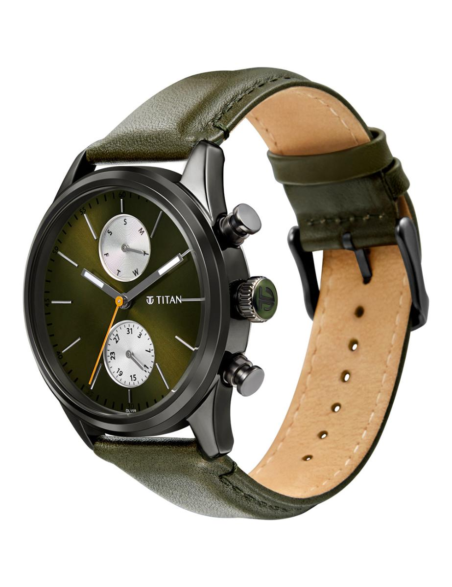 Titan  Men's ELMNT Green Dial Tan Leather Watch  T1805QL01