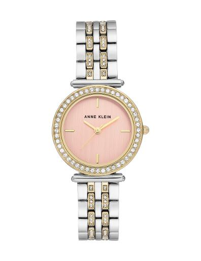 Anne Klein Women's Crystal Metal Pink Dial Two Tone Stainless Steel Watch. AK3409PKTT